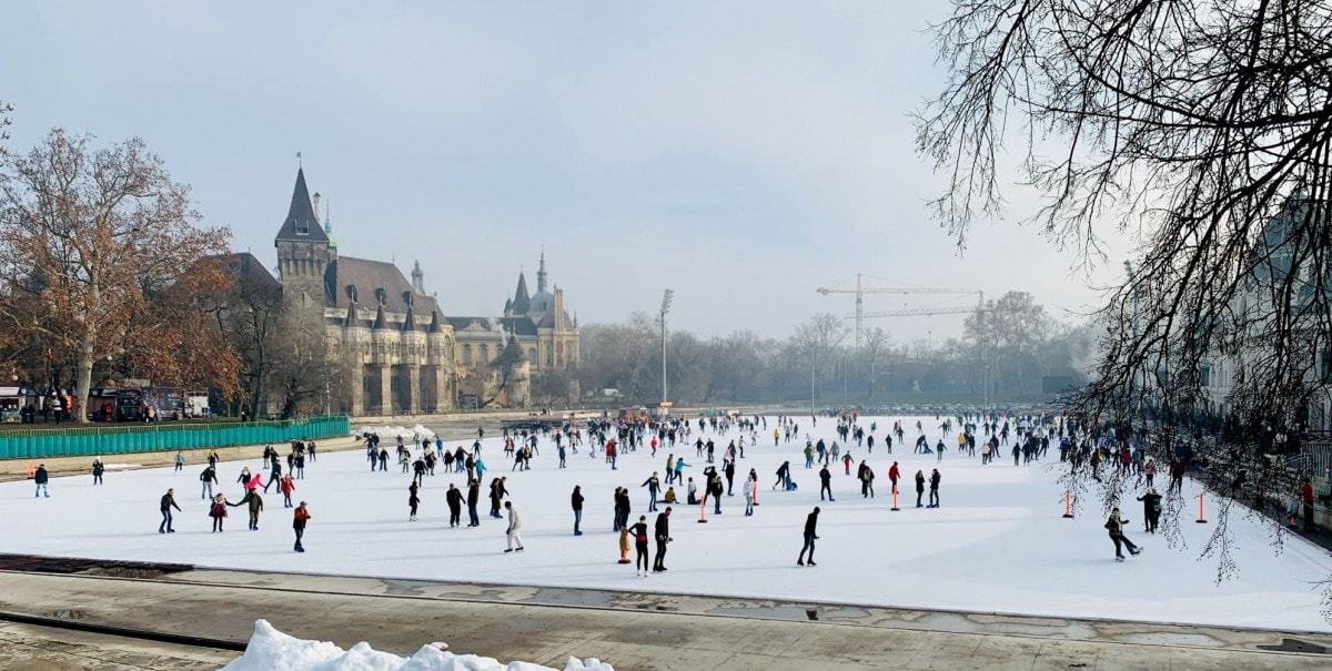 2 days in Budapest itinerary - ice skating in city park