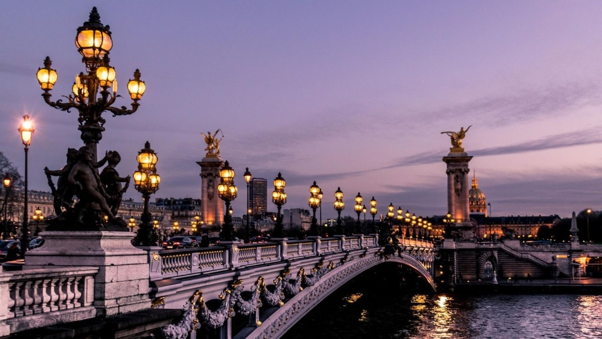 Walk along Paris' Pont Alexandre III bridge