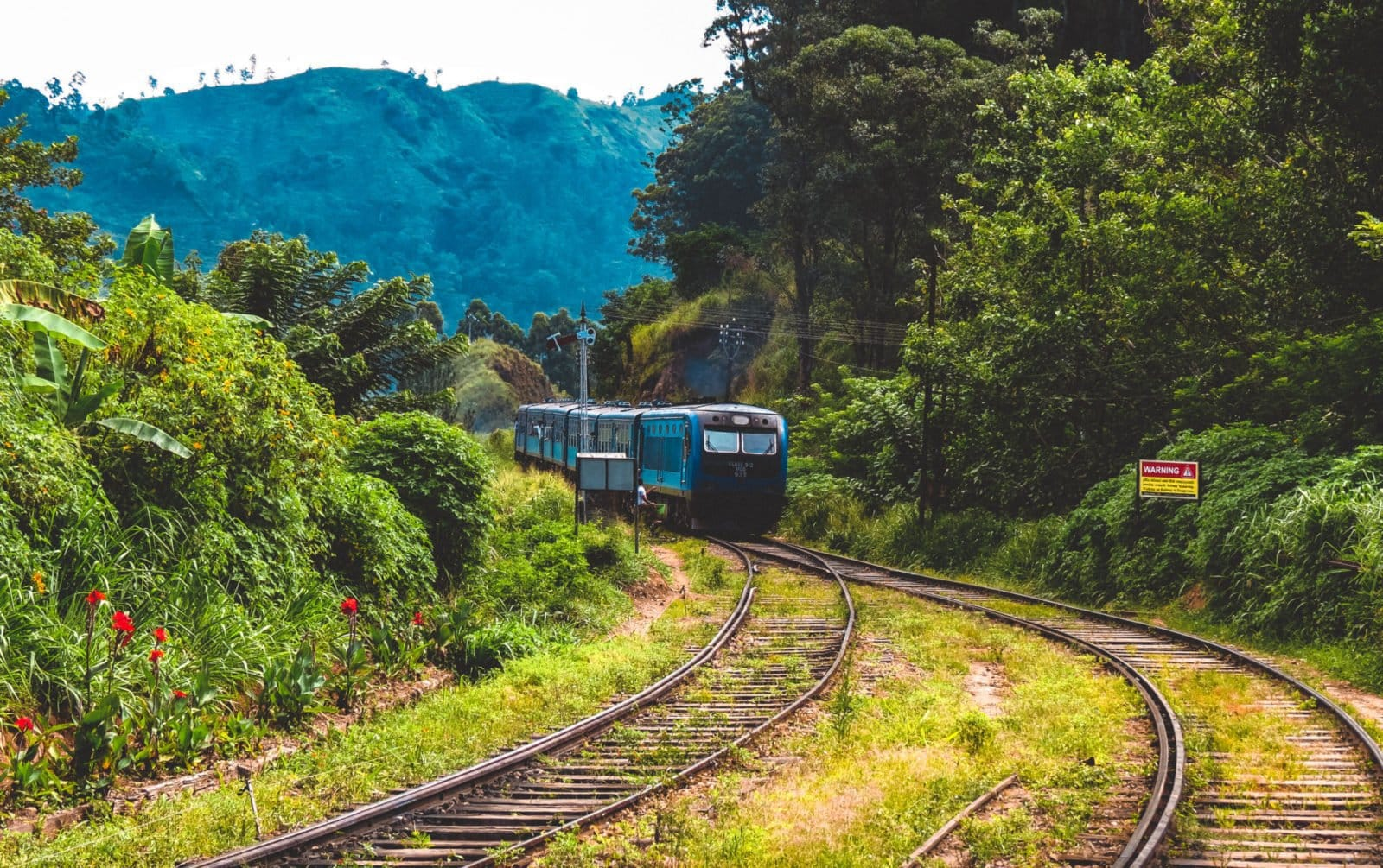 Train pulling into Ella Station, Sri Lanka