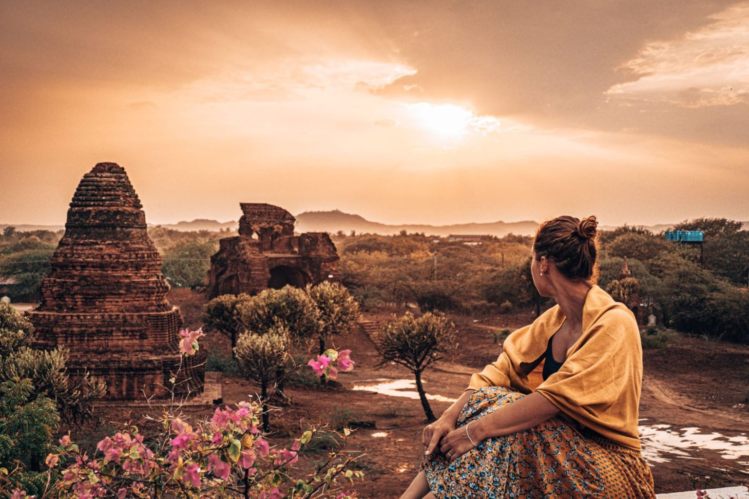 Lee looking out over temples Bagan