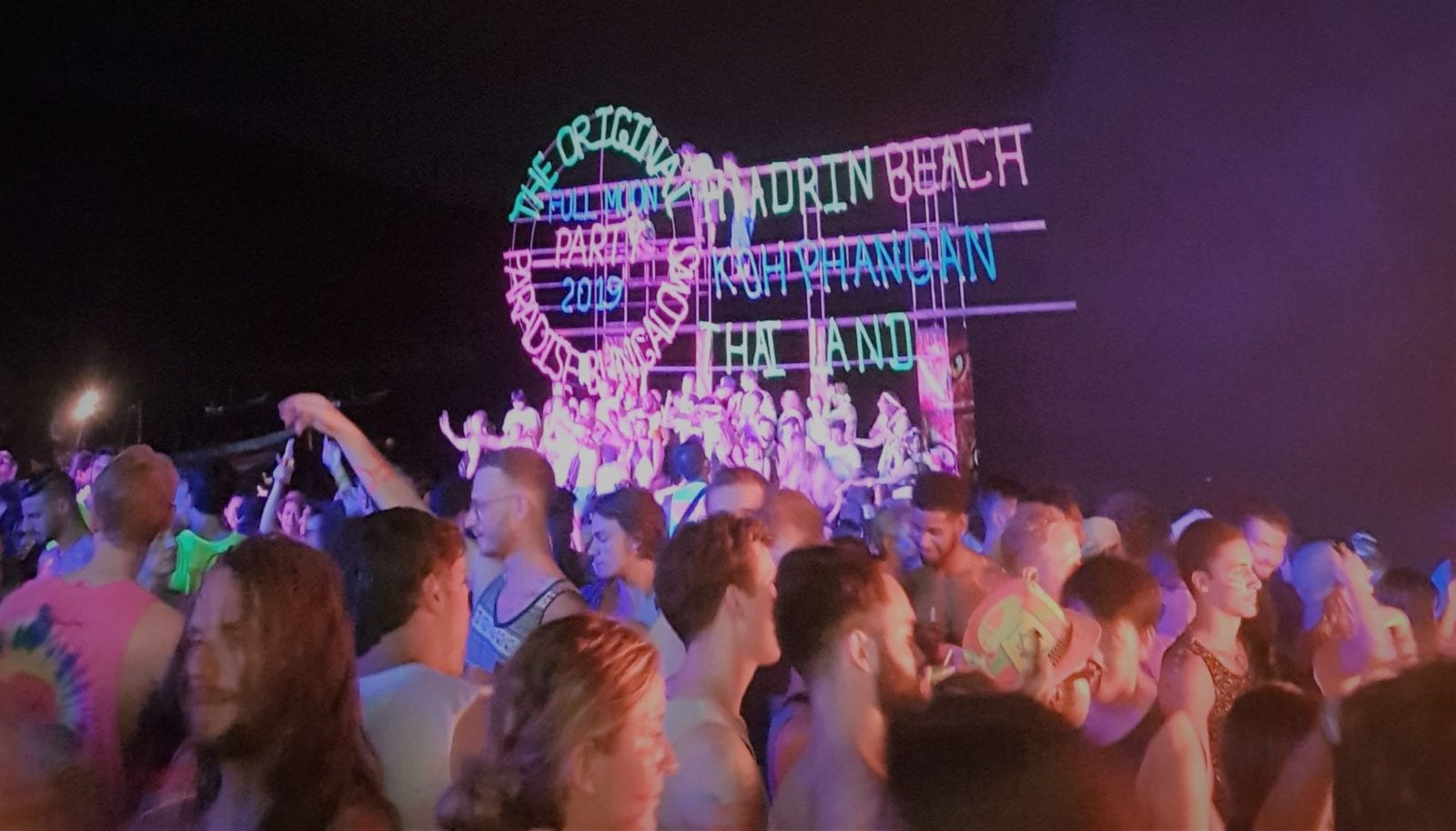 Party in full swing at the Full moon party, Koh Pha Ngan