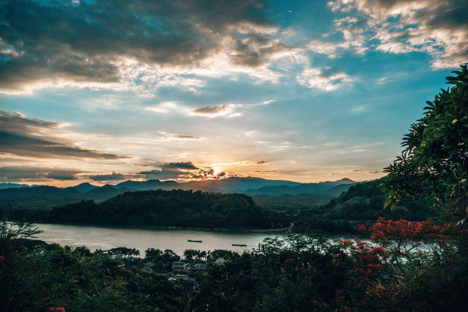 Sunset view from Chom Si temple Luang Prabang