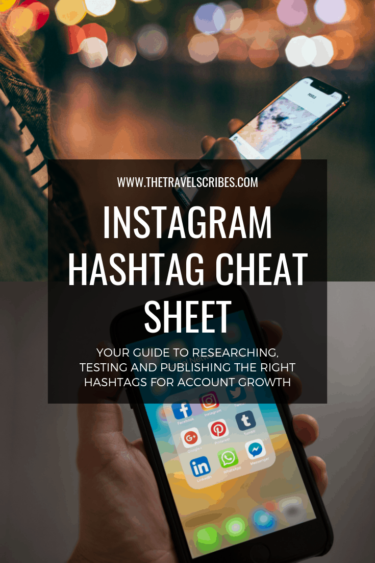 Pinterest graphic for Instagram Hashtag cheat sheet