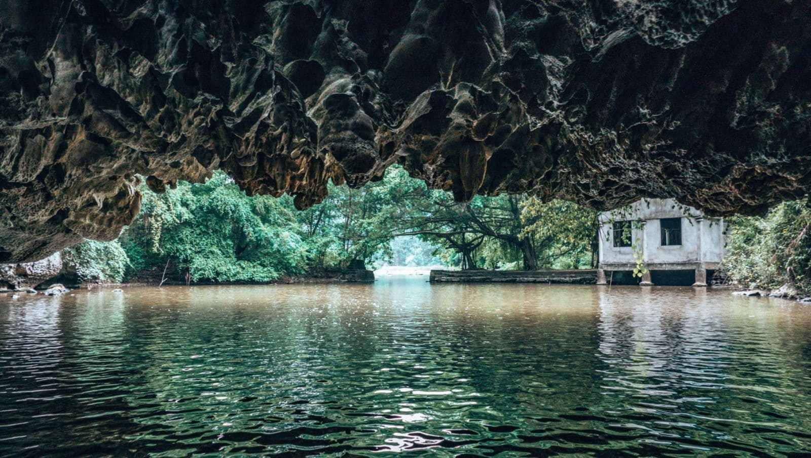Picture of emerging from a cave on the Tam Coc river in Vietnam