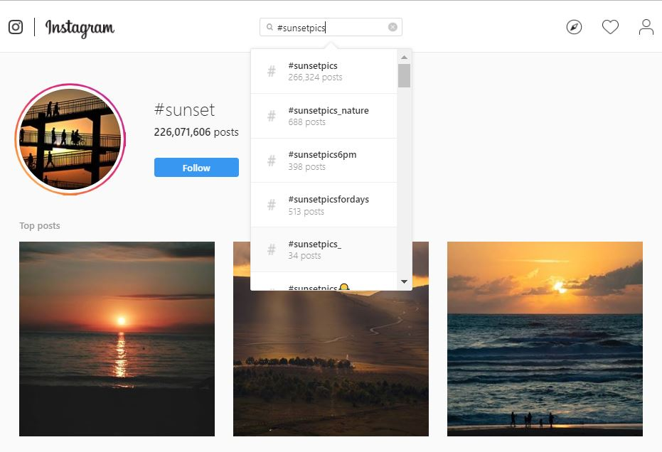 Screenshot of Instagram search for sunset hashtags
