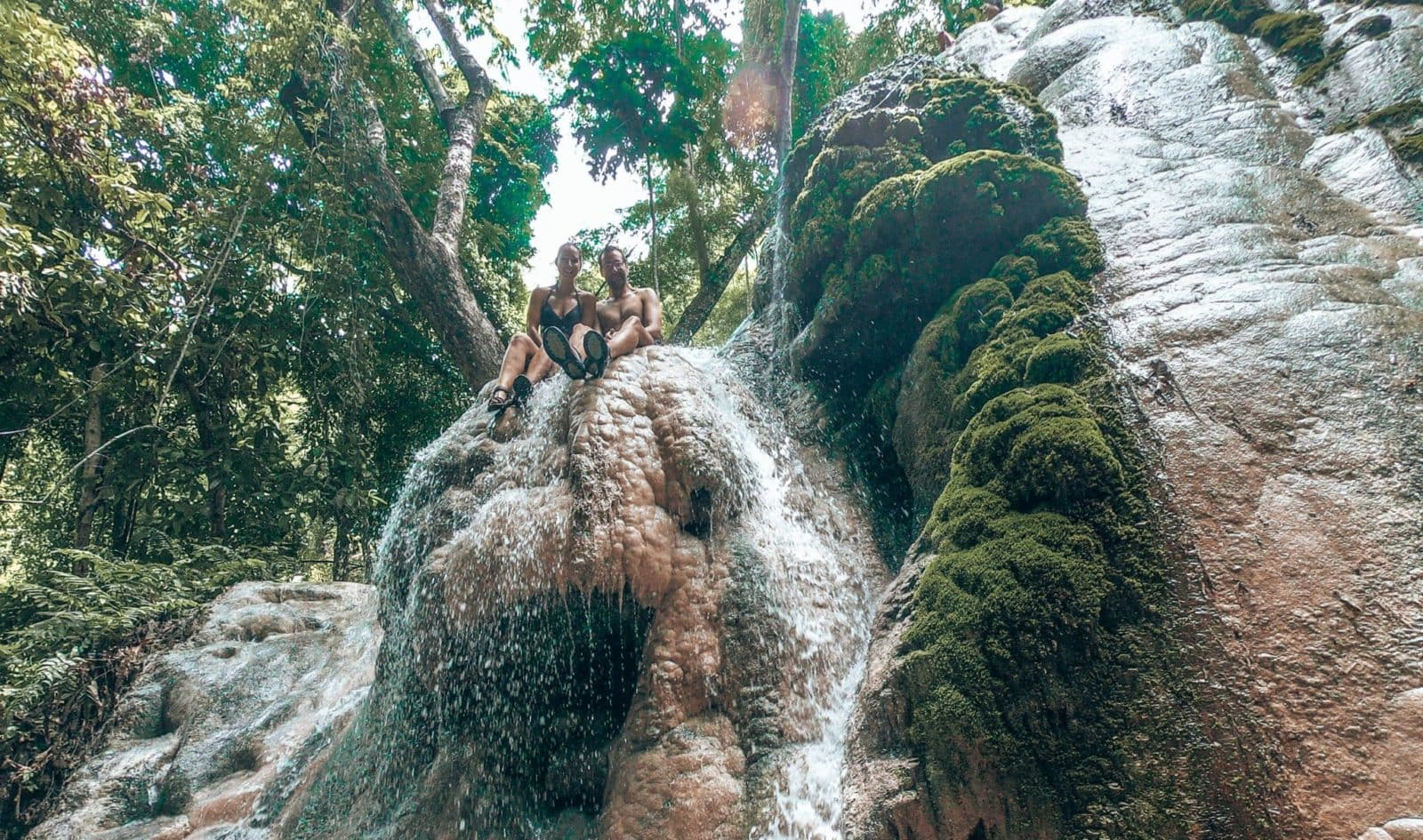 Picture of couple at top of Sticky Waterfalls in Chiang Mai