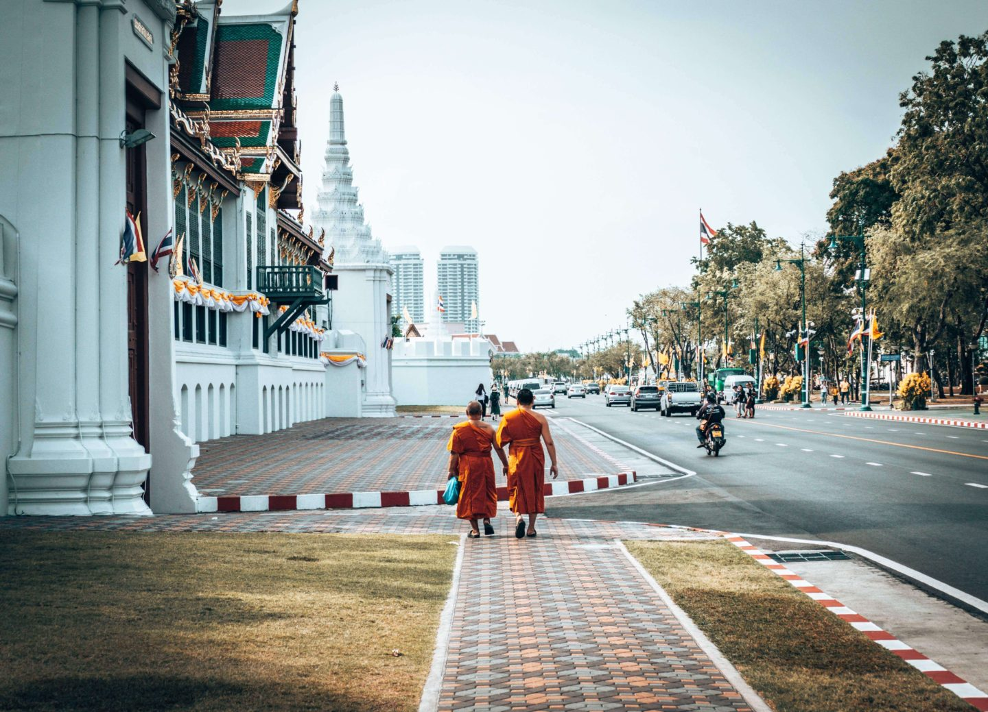 Picture of monks near Grand Palace in Bangkok, Thailand
