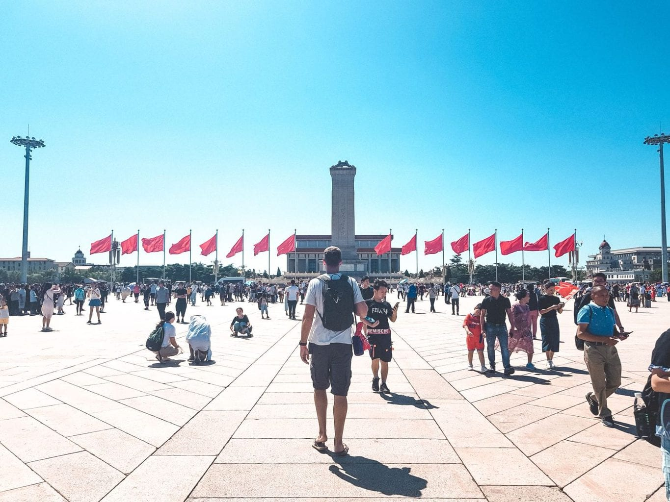 Picture of man in Tiananmen Square, Beijing China