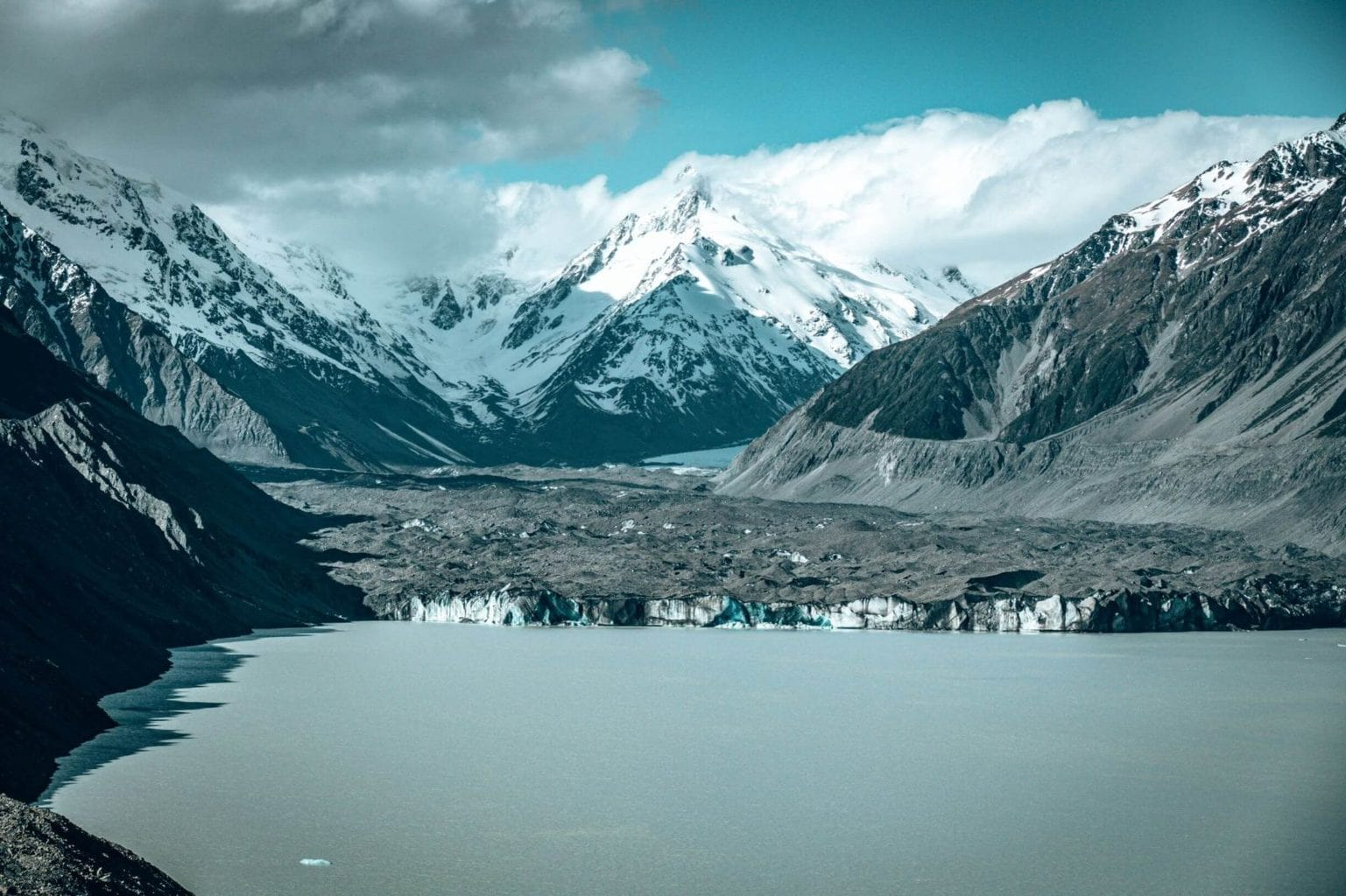 A view of the Tasman Glacier from atop