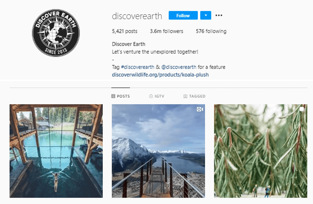 Nature Tag for Feature Instagram Accounts