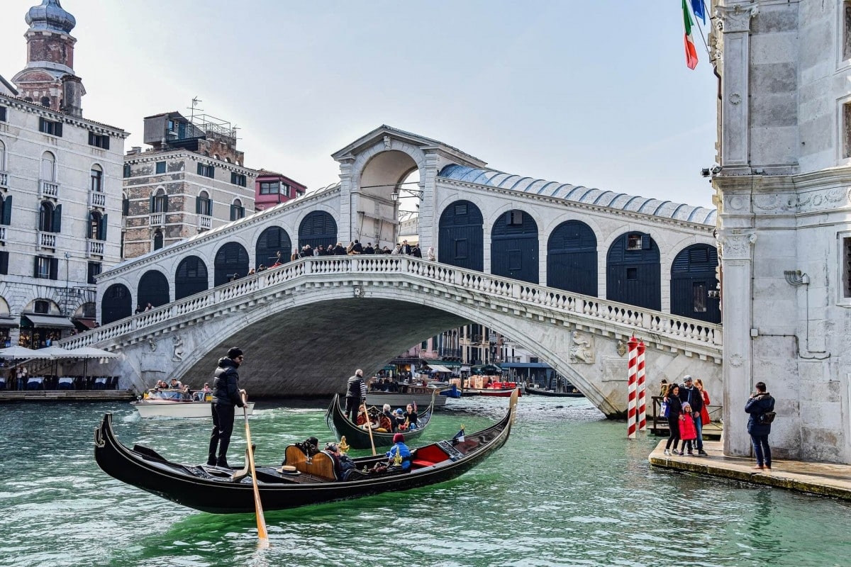 Rialto Bridge over the Grand Canal is one of the most famous Venice landmarks